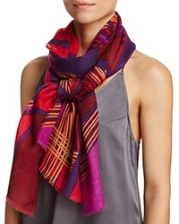 Aqua Spliced Geometric Scarf 100 Exclusive Pop Red
