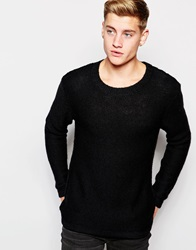 Cheap Monday Crew Knit Jumper Melange Black