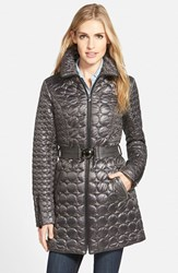 Women's Laundry By Shelli Segal Belted Quilted Coat Charcoal