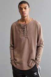 Urban Outfitters Uo Julian Lace Up Henley Long Sleeve Tee Taupe