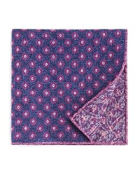 Bloomingdale's The Men's Store At Circle Medallion Wool Pocket Square 100 Exclusive Navy Purple