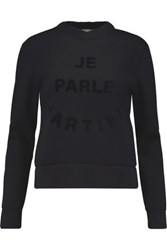 Etre Cecile Je Parle Martien Flocked Cotton Neoprene Sweatshirt Black