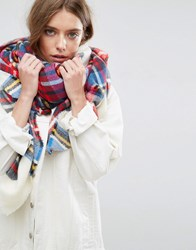 Asos Oversized Square Scarf In White Based Tartan Multi