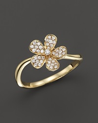 Kc Designs Small Diamond Flower Ring In 14K Yellow Gold