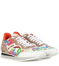 Etro Printed Leather And Suede Sneakers Multicoloured