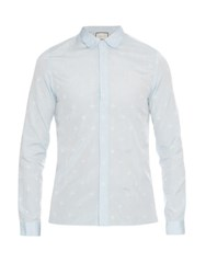 Gucci Cambridge Fit Bee And Star Jacquard Shirt Light Blue