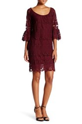 Want And Need 3 4 Sleeve Eyelash Lace Dress Red