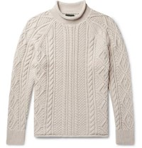 J.Crew Cable Knit Cotton Rollneck Sweater Cream