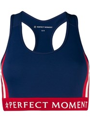 Perfect Moment Logo Band Sports Bra Blue