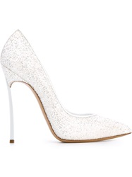 Casadei Pointed Toe Glitter Pumps White