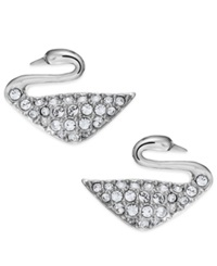 Swarovski Rhodium Plated Crystal Swan Stud Earrings