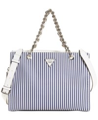 Guess Sawyer Medium Satchel Blue Stripe