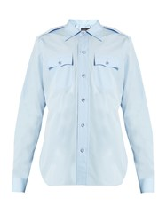 Balenciaga Flapped Pocket Cotton Shirt Light Blue