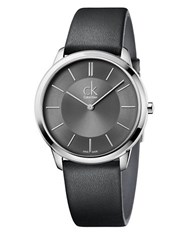 Calvin Klein Stainless Steel And Leather Watch K3m211c4 Black
