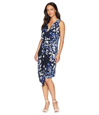 Ellen Tracy Twisted Front Sleeveless Dress Trellis Blossom Ink Navy