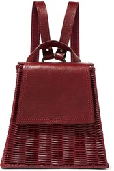 Wicker Wings Tixting Tall Rattan And Leather Backpack Burgundy