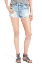 Lovers Friends Jack High Rise Destroyed Denim Short Blue