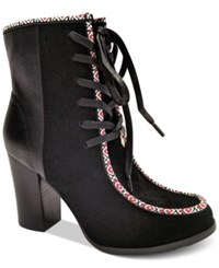 Nanette Lepore By Isabel Block Heel Lace Up Booties Only At Macy's Women's Shoes Black