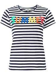 Yazbukey 'Summer' Print Striped T Shirt Blue