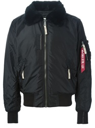 Alpha Industries Shearling Collar Bomber Jacket Black