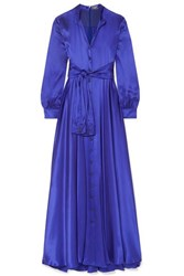 Alexis Mabille Tie Detailed Silk Satin Gown Royal Blue