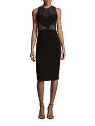 Theia High Neck Lace Dress Black