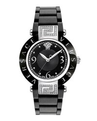 Versace 35Mm Rave Ceramic Bracelet Watch W Diamonds And Rubber Strap Black