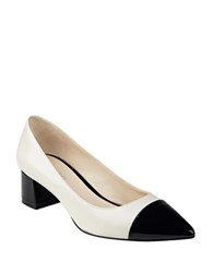 Nine West Dalzel Point Toe Cap Pumps Off White Black