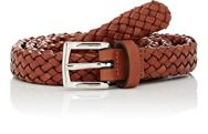 Barneys New York Men's Braided Leather Belt Brown