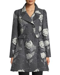 Double Breasted Floral Jacquard Wool Car Coat Gray