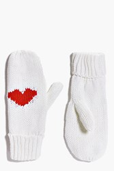 Boohoo Lyla Heart Knitted Fleece Lined Mittens Cream