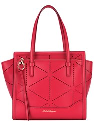 Salvatore Ferragamo Perforated Tote Bag Women Calf Leather One Size Red