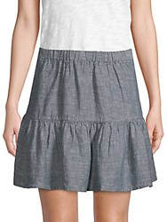 Saks Fifth Avenue Linen Tiered Skirt Indigo