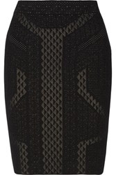 Line Stretch Knit Skirt Black