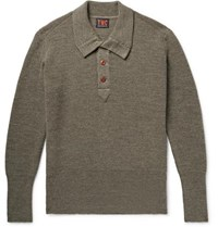 The Workers Club Ribbed Merino Wool Half Placket Sweater Green