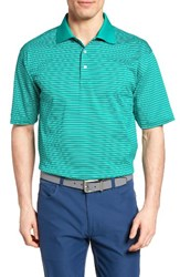 Bobby Jones Men's Dot Stripe Golf Polo Lagoon