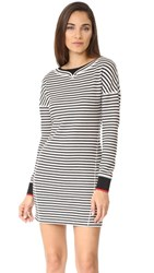 Grey Jason Wu Stripe Boatneck Dress With Ribbed Detail Black Star White
