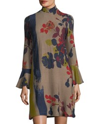 Chelsea And Theodore Mock Neck Floral Sweater Dress Multi