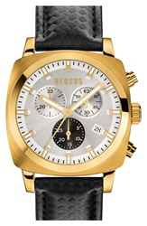 Versus By Versace 'Riverdale' Chronograph Leather Strap Watch 40Mm Black Gold Silver