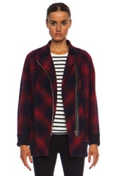 Band Of Outsiders Plaid Wool Cacoon Coat In Red Blue Checkered And Plaid