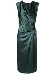 Narciso Rodriguez Knotted Waist Silk Dress Green