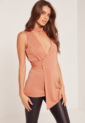 Missguided Choker Neck Sleeveless Wrap Tunic Pink