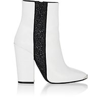 Amiri Glitter Stripe Leather Ankle Boots White
