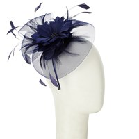 John Lewis Sara Crin And Feather Mini Disc Fascinator Navy