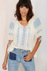 Nasty Gal Vintage Mia Embroidered Peasant Top