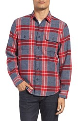 Nordstrom Men's Men's Shop Thermal Lined Plaid Flannel Shirt Red Ochre Navy Jaspe Plaid
