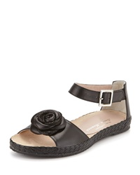 Zoey Rose Flat Leather Sandal Black Sesto Meucci