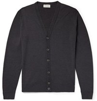 John Smedley Burley Slim Fit Merino Wool Cardigan Dark Gray