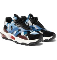 Valentino Garavani Bounce Mesh Leather And Suede Sneakers Blue