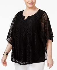 Jm Collection Plus Size Batwing Sleeve Lace Top Only At Macy's Deep Black